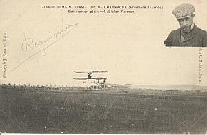 Reims Early French Aviation Sommer Signed PC 1910