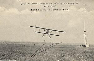 Reims Early French Aviation Fisher Signed PC 1910