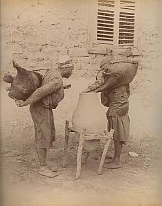 Water Carriers & School Cairo Egypt 2 Photos 1880