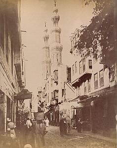 Animated Street & Mosque Cairo Bonfils 2 Photos 1880