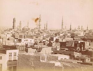Mosquee City Panorama Cairo Egypt Old Photo 1880