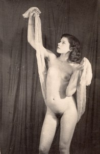 Woman Risque Nude Anatomic Study old Photo 1950