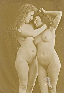 Women Risque Nude Anatomic Study old Photo 1900