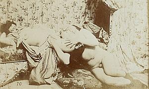 Woman Risque Nude Pornographic Study old Photo 1900