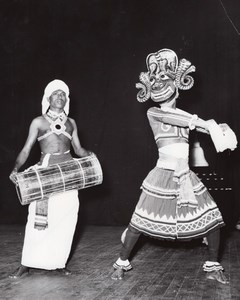Ceylanese Ballet Dancers Mask Paris Theater Photo 1958
