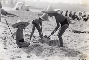 Holiday Beach Play Time France Old Seeberger Photo 1930