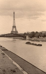 Tour Eiffel Tower Seine River Paris Post War Photo 1945