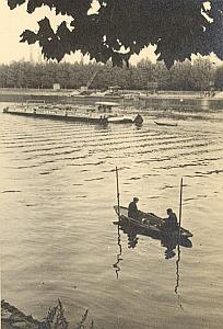 Pecheur Fishermen Seine River Paris Post War Photo 1945