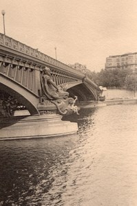Mirabeau Bridge Seine River Paris Post War Photo 1945