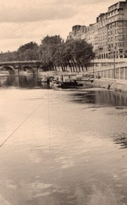 St Michel Bridge Seine River Paris Post War Photo 1945