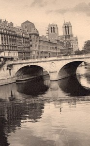 Notre Dame Seine River Paris Post War Old Photo 1945