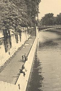 Fishermen Bord de Seine River Paris Post War Photo 1945