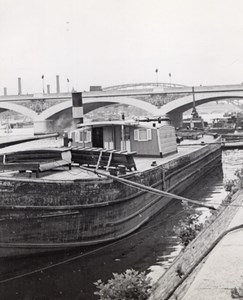 Barge Peniche Seine River Paris Post War Old Photo 1945