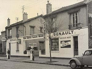 Paris Motor Garage Car Renault old Photomontage 1960