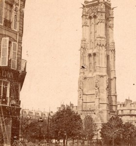Saint Jacques Tower Paris France Old Stereo Photo 1875