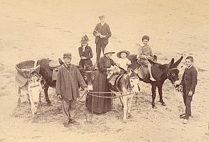 Normandie Donkey Beach Promenade France Old Photo 1880