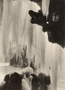 Paris Bois de Boulogne Winter Ice Falls Old Photo 1954