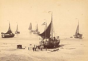 Scheveningen Boats Workers Netherlands old Photo 1890