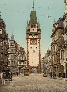 Germany Freiburg Martinstor Trolley Old Photo 1907