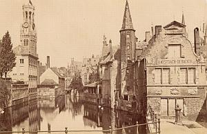Belgium Bruges Canal & Beffroi Old Neurdein Photo 1885