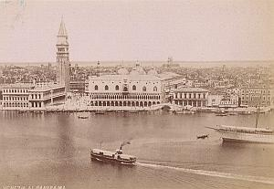Italy Venezia Panorama Boats Old Photo ca 1890