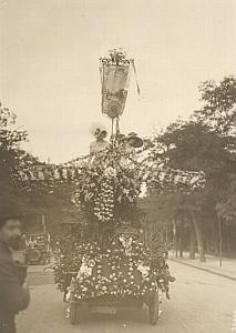 Paris Flower Parade Airplane Car Winner Old Photo 1910