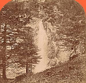 France Mont Dore Queureil Cascade Old Stereo Photo 1880