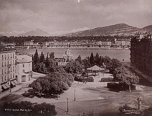 Switzerland Geneva Place des Alpes Old Photo 1890