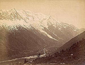 Alpes Mont Blanc Chamonix Panorama Old Photo 1890