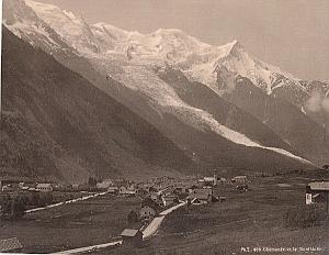 Alpes Mont Blanc Glacier Chamonix Valley Old Photo 1890