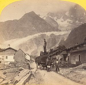 Alpes Mont Blanc Animated Alpine Club Stereo Photo 1863