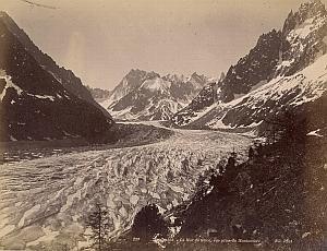 Alpes Mont Blanc Montanvert Ice Glacier Old Photo 1890