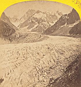 Alpes Mont Blanc Montanvert Glacier Stereo Photo 1869