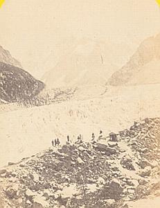 Alpes Mont Blanc Montanvert Animated Old CDV Photo 1869