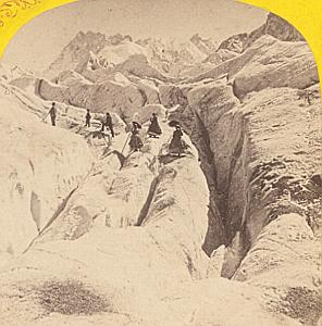 Alpes Mont Blanc Ice Sea Animated Old Stereo Photo 1869