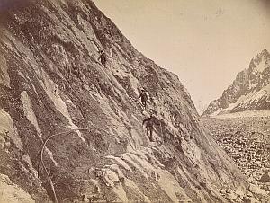 Alpes Mont Blanc Le Mauvais Pas Animated Old Photo 1890