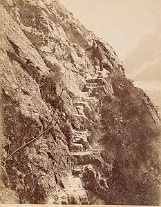 Alpes Mont Blanc Le Mauvais Pas Animated Old Photo 1880