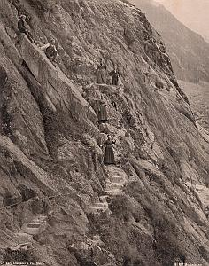 Alpes Mont Blanc Le Mauvais Pas Animated Old Photo 1890