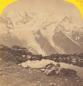 Alpes MontBlanc Pranpraz Panorama Old Stereo Photo 1869