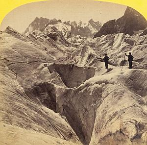 Alpes Mont Blanc Glacier Animated Old Stereo Photo 1863