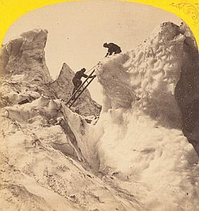 Alpes Mont Blanc Climbing Animated Stereo Photo 1869