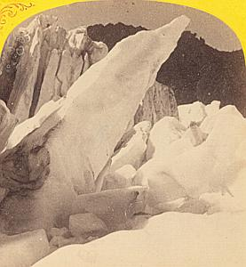 Alpes Mont Blanc Bossons Glacier Old Stereo Photo 1869