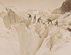Alpes Mont Blanc Bosson Glacier Climbers Old Photo 1890