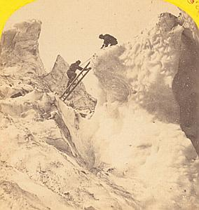 Alpes Mont Blanc Glacier Climbers Old Stereo Photo 1869