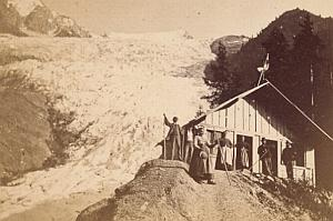 Alpes Mont Blanc Bossons Animated Old CDV Photo 1868