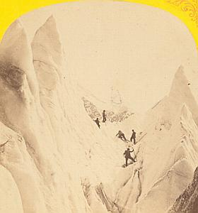 Alpes Mont Blanc Climber Animated Old Stereo Photo 1869