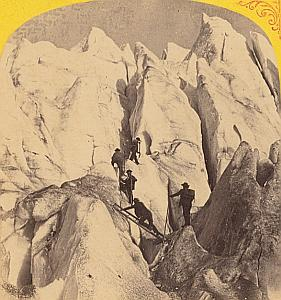 Alpes Mont Blanc Animated Climber Old Stereo Photo 1869