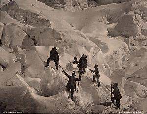 Alpes Mont Blanc Animated Ice Climbers Old Photo 1890