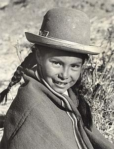 Peru Titicaca Lake Calia Young Girl Decool Photo 1970