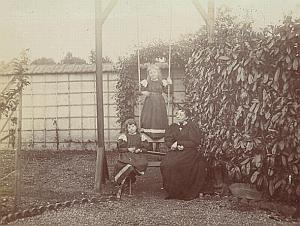 France Mother Children Playing Garden Old Snapshot 1900